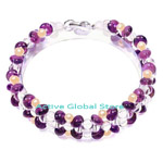 New Natural Amethyst / Clear Rock Crystal Quartz & Fresh Water Pearl Fashion Design Bracelet Gift, Size L